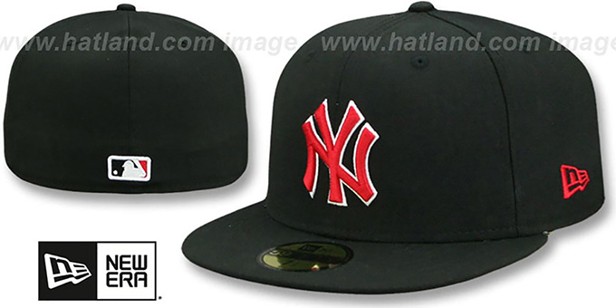 Yankees 'TEAM-BASIC' Black-Red Fitted Hat by New Era : pictured without stickers that these products are shipped with