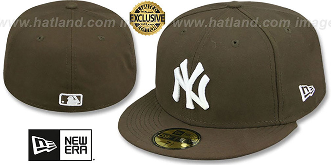 Yankees 'TEAM-BASIC' Brown-White Fitted Hat by New Era : pictured without stickers that these products are shipped with
