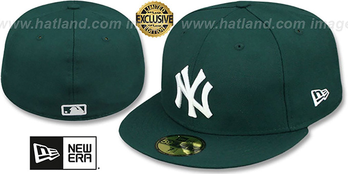 Yankees 'TEAM-BASIC' Dark Green-White Fitted Hat by New Era : pictured without stickers that these products are shipped with