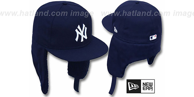 Yankees 'TEAM-BASIC DOGEAR' Navy Fitted Hat by New Era : pictured without stickers that these products are shipped with