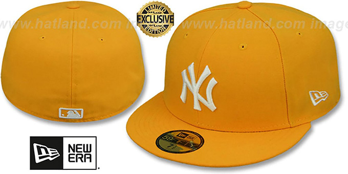 Yankees 'TEAM-BASIC' Gold-White Fitted Hat by New Era : pictured without stickers that these products are shipped with