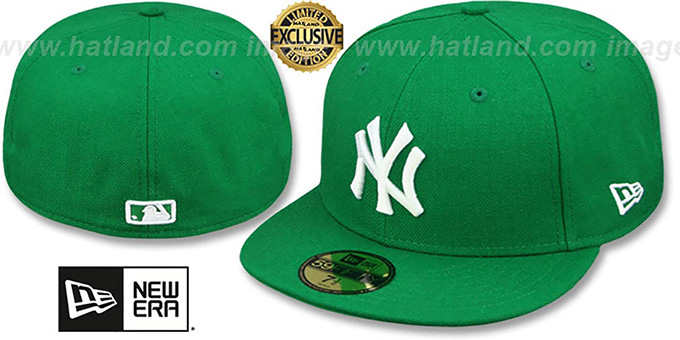 Yankees 'TEAM-BASIC' Kelly Green-White Fitted Hat by New Era : pictured without stickers that these products are shipped with