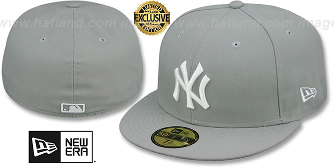 Yankees 'TEAM-BASIC' Light Grey-White Fitted Hat by New Era : pictured without stickers that these products are shipped with