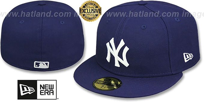 Yankees 'TEAM-BASIC' Navy-White Fitted Hat by New Era : pictured without stickers that these products are shipped with