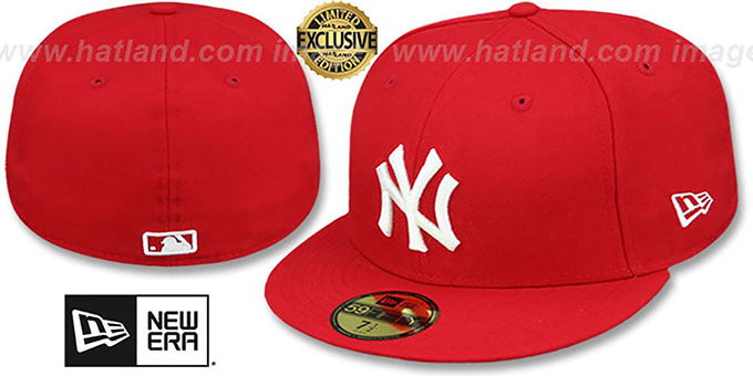 Yankees 'TEAM-BASIC' Red-White Fitted Hat by New Era : pictured without stickers that these products are shipped with