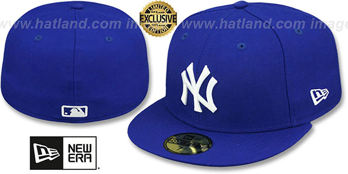 Yankees 'TEAM-BASIC' Royal-White Fitted Hat by New Era : pictured without stickers that these products are shipped with