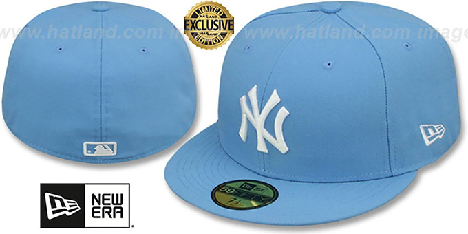 Yankees 'TEAM-BASIC' Sky-White Fitted Hat by New Era : pictured without stickers that these products are shipped with