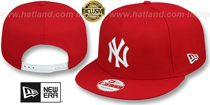 Yankees 'TEAM-BASIC SNAPBACK' Red-White Hat by New Era : pictured without stickers that these products are shipped with