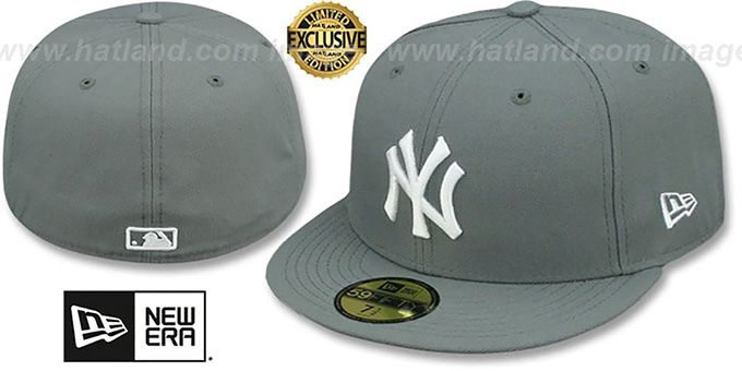 Yankees 'TEAM-BASIC' Storm Grey-White Fitted Hat by New Era : pictured without stickers that these products are shipped with