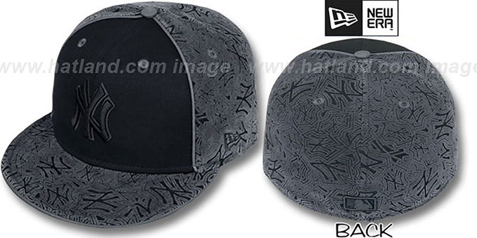 Yankees 'TEAM-FLOCKING' Black-Grey Fitted Hat by New Era : pictured without stickers that these products are shipped with