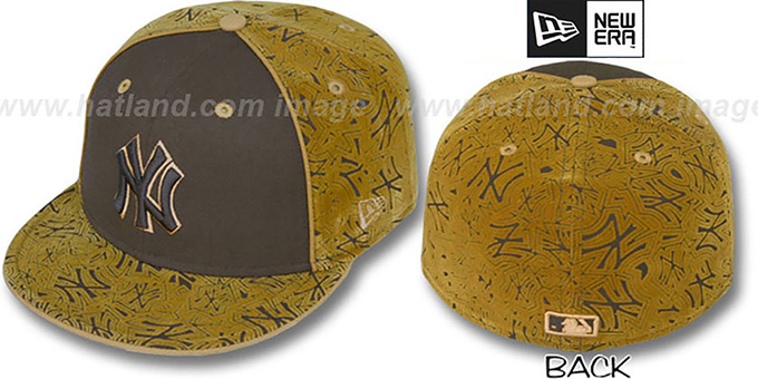 Yankees 'TEAM-FLOCKING' Brown-Wheat Fitted Hat by New Era : pictured without stickers that these products are shipped with