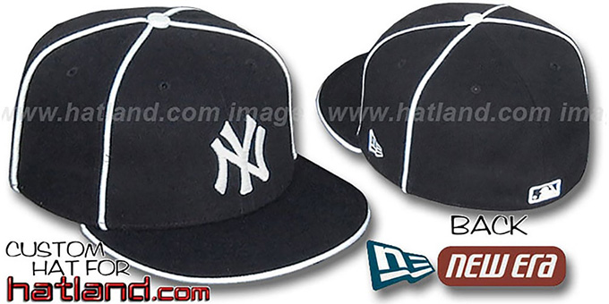 Yankees 'TEAM PIPING-2' Black Fitted Hat by New Era : pictured without stickers that these products are shipped with