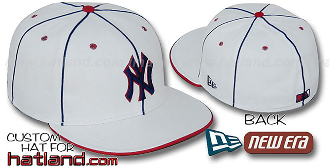 Yankees 'TEAM PIPING' White-Navy-Red Fitted Hat by New Era : pictured without stickers that these products are shipped with