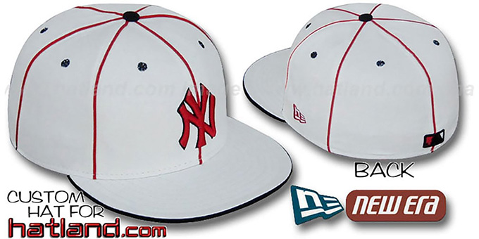 Yankees 'TEAM PIPING' White-Red Fitted Hat by New Era : pictured without stickers that these products are shipped with
