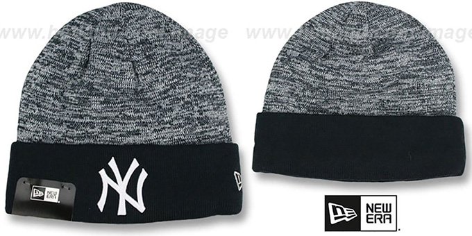 Yankees 'TEAM-RAPID' Navy-White Knit Beanie Hat by New Era : pictured without stickers that these products are shipped with