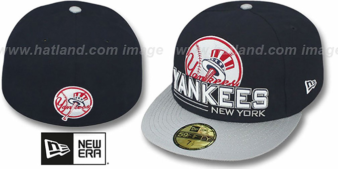 Yankees 'TECH MARK' Navy-Grey Fitted Hat by New Era : pictured without stickers that these products are shipped with