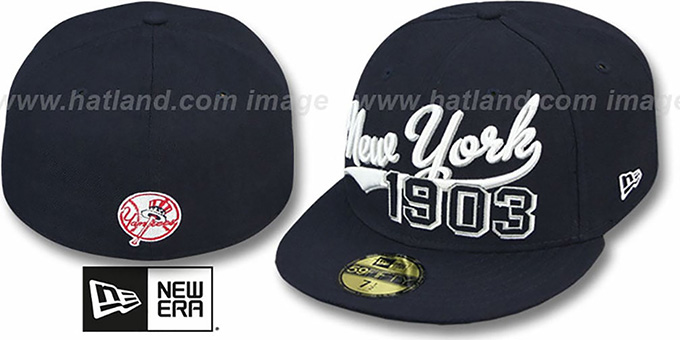Yankees 'THE BEGINNING' Navy Fitted Hat by New Era : pictured without stickers that these products are shipped with
