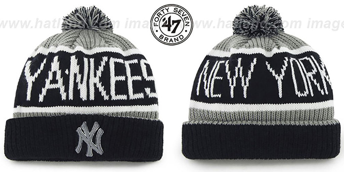 Yankees 'THE-CALGARY' Black-Grey Knit Beanie Hat by Twins 47 Brand : pictured without stickers that these products are shipped with
