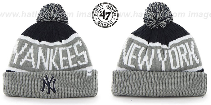 913cdf5fd68 Yankees  THE-CALGARY  Grey-Navy Knit Beanie Hat by Twins 47 Brand