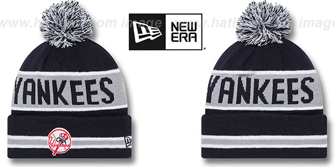 Yankees 'THE-COACH ALTERNATE' Navy Knit Beanie Hat by New Era : pictured without stickers that these products are shipped with