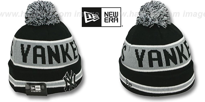 Yankees 'THE-COACH' Black-Grey Knit Beanie Hat by New Era : pictured without stickers that these products are shipped with
