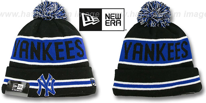 Yankees 'THE-COACH' Black-Royal Knit Beanie Hat by New Era : pictured without stickers that these products are shipped with