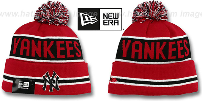 Yankees 'THE-COACH' Red-Black Knit Beanie Hat by New Era-BlackY : pictured without stickers that these products are shipped with
