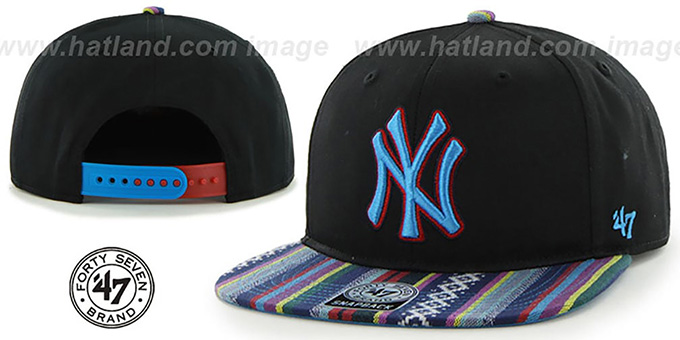 Yankees 'THE-DUDE SNAPBACK' Black-Blue Hat by Twins 47 Brand : pictured without stickers that these products are shipped with