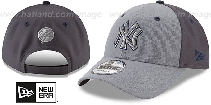 Yankees 'THE-LEAGUE GREY-POP STRAPBACK' Hat by New Era : pictured without stickers that these products are shipped with