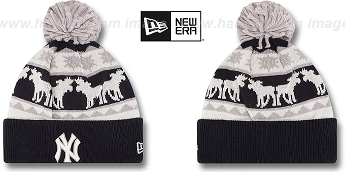 Yankees 'THE-MOOSER' Knit Beanie Hat by New Era : pictured without stickers that these products are shipped with