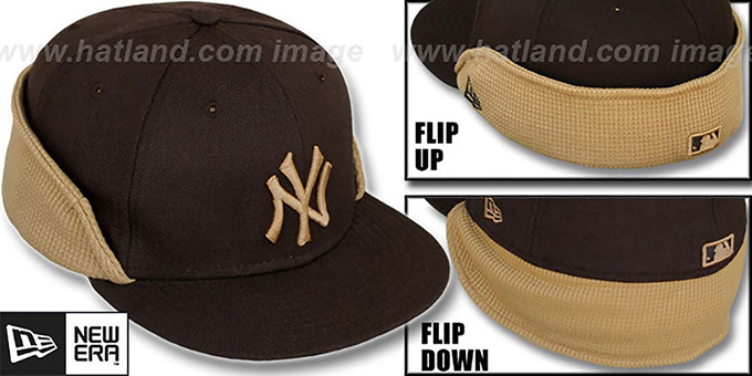 Yankees 'THERMAL FLIP-DOWN' Brown-Wheat Fitted Hat by New Era : pictured without stickers that these products are shipped with