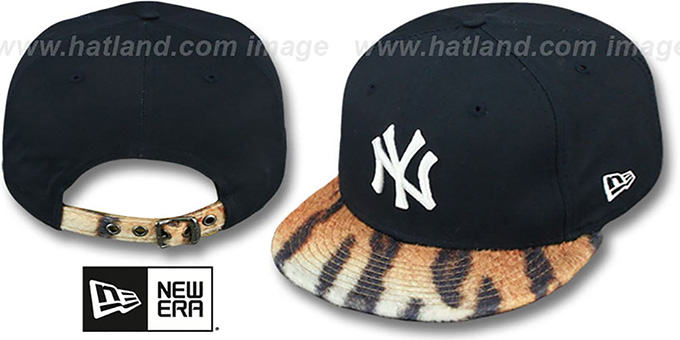 Yankees 'TIGER ANIMALISTIC-FUR VIZA STRAPBACK' Hat by New Era : pictured without stickers that these products are shipped with