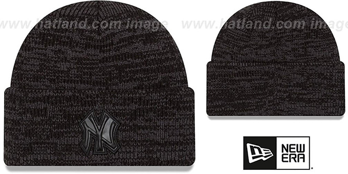 Yankees 'TONAL TRICK' Black-Grey Knit Beanie Hat by New Era : pictured without stickers that these products are shipped with