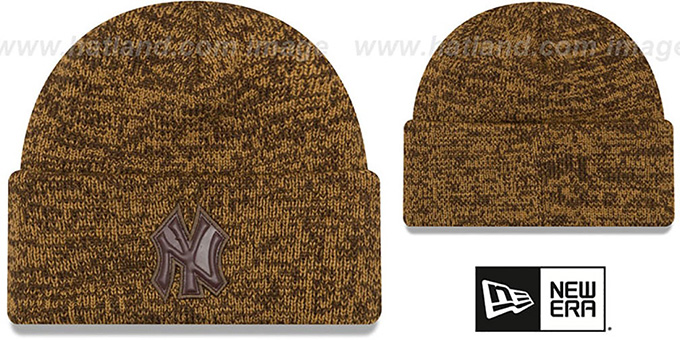Yankees 'TONAL TRICK' Brown-Wheat Knit Beanie Hat by New Era : pictured without stickers that these products are shipped with