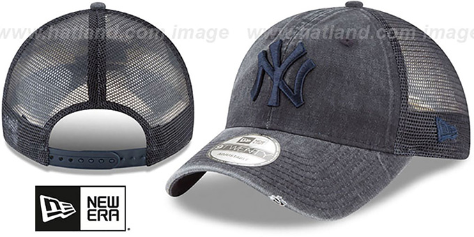 Yankees 'TONAL-WASHED TRUCKER SNAPBACK' Navy Hat by New Era : pictured without stickers that these products are shipped with