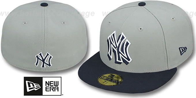Yankees 'TRACE-POP' Grey-Navy Fitted Hat by New Era : pictured without stickers that these products are shipped with