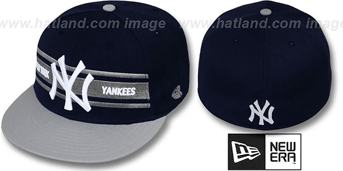 Yankees 'TRIBAND' Navy-Grey Fitted Hat by New Era : pictured without stickers that these products are shipped with