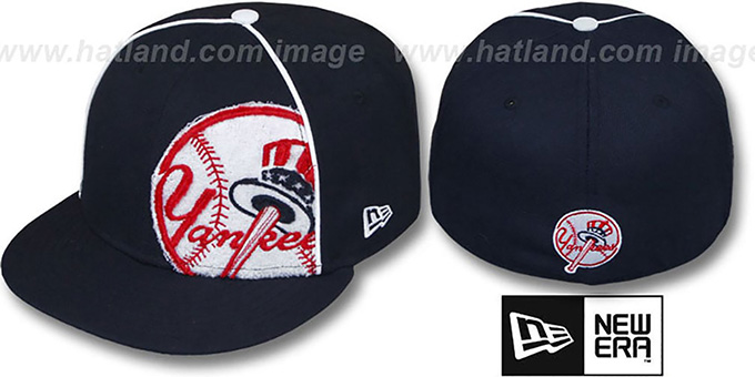 Yankees 'TRIBULATOR' Navy Fitted Hat by New Era : pictured without stickers that these products are shipped with