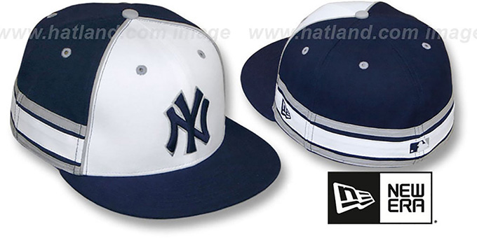 Yankees 'TRIFECTA' Fitted Hat by New Era : pictured without stickers that these products are shipped with