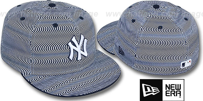 Yankees 'TRIPPIN' White-Navy Fitted Hat by New Era : pictured without stickers that these products are shipped with