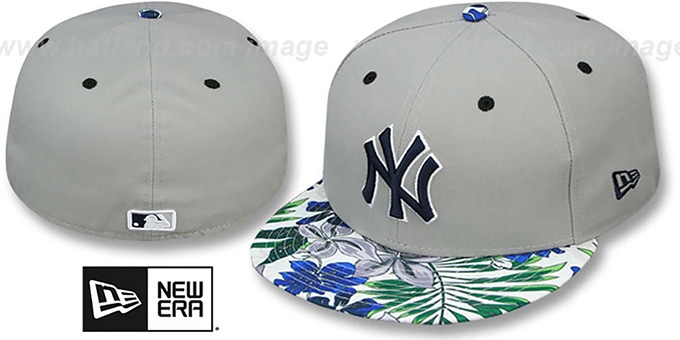 Yankees 'TROPTRIP BLOOM' Grey-Multi Fitted Hat by New Era : pictured without stickers that these products are shipped with