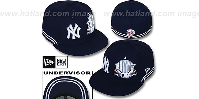 Yankees 'TWO-BIT' Navy-White Fitted Hat by New Era : pictured without stickers that these products are shipped with