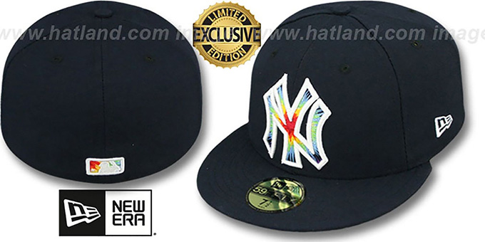 Yankees 'TYE-DYE INSIDER' Navy Fitted Hat by New Era : pictured without stickers that these products are shipped with