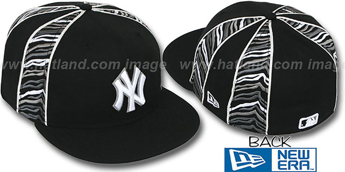 Yankees 'URBAN JUNGLE' Black Fitted Hat by New Era : pictured without stickers that these products are shipped with