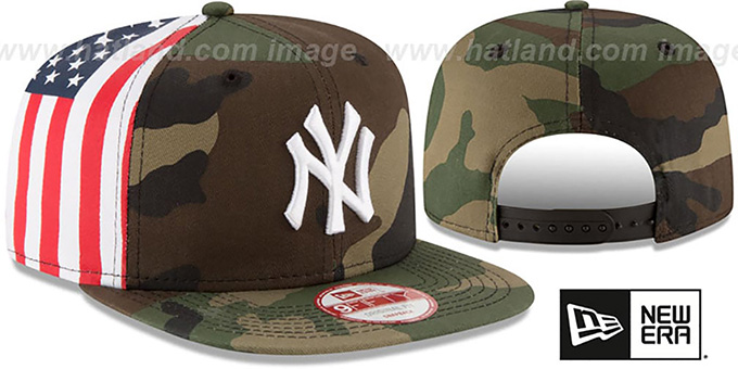 Yankees 'USA FLAG-SIDE SNAPBACK' Army Hat by New Era : pictured without stickers that these products are shipped with