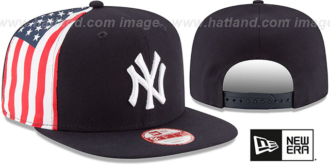 Yankees 'USA FLAG-SIDE SNAPBACK' Navy Hat by New Era : pictured without stickers that these products are shipped with