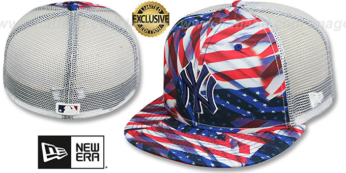 Yankees  USA WAVING-FLAG MESH-BACK  Fitted Hat by New Era 55ae7e551da