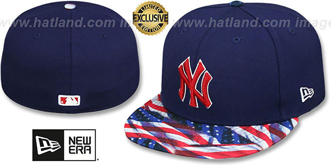 Yankees 'USA WAVING-FLAG' Navy Fitted Hat by New Era : pictured without stickers that these products are shipped with