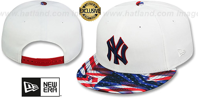 Yankees 'USA WAVING FLAG SNAPBACK' White-Flag Hat by New Era : pictured without stickers that these products are shipped with