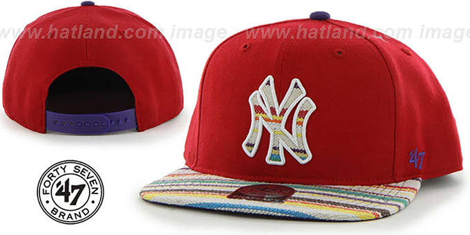 Yankees 'WARCHILD SNAPBACK' Red Hat by Twins 47 Brand : pictured without stickers that these products are shipped with